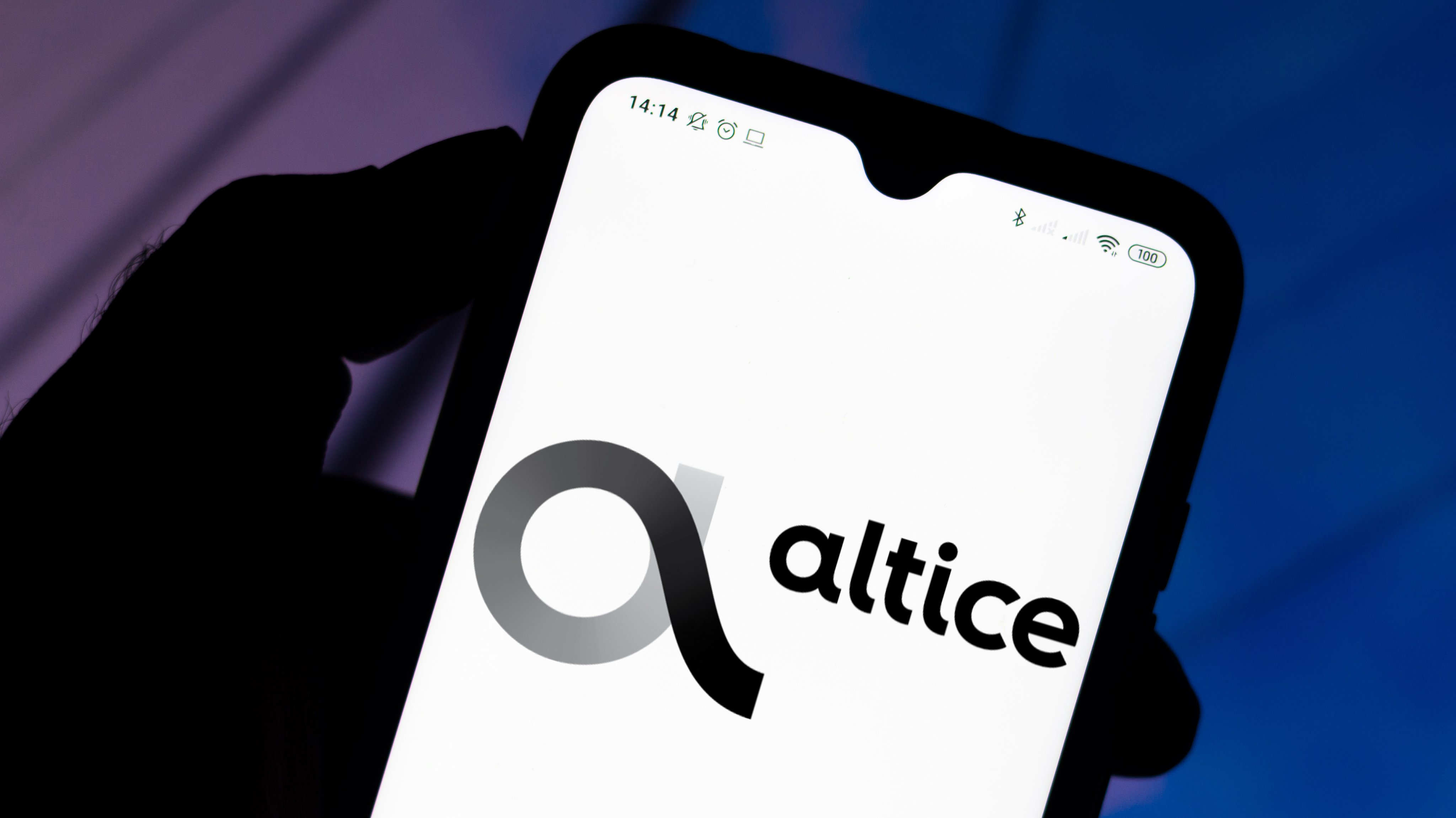In this photo illustration the Altice USA logo seen