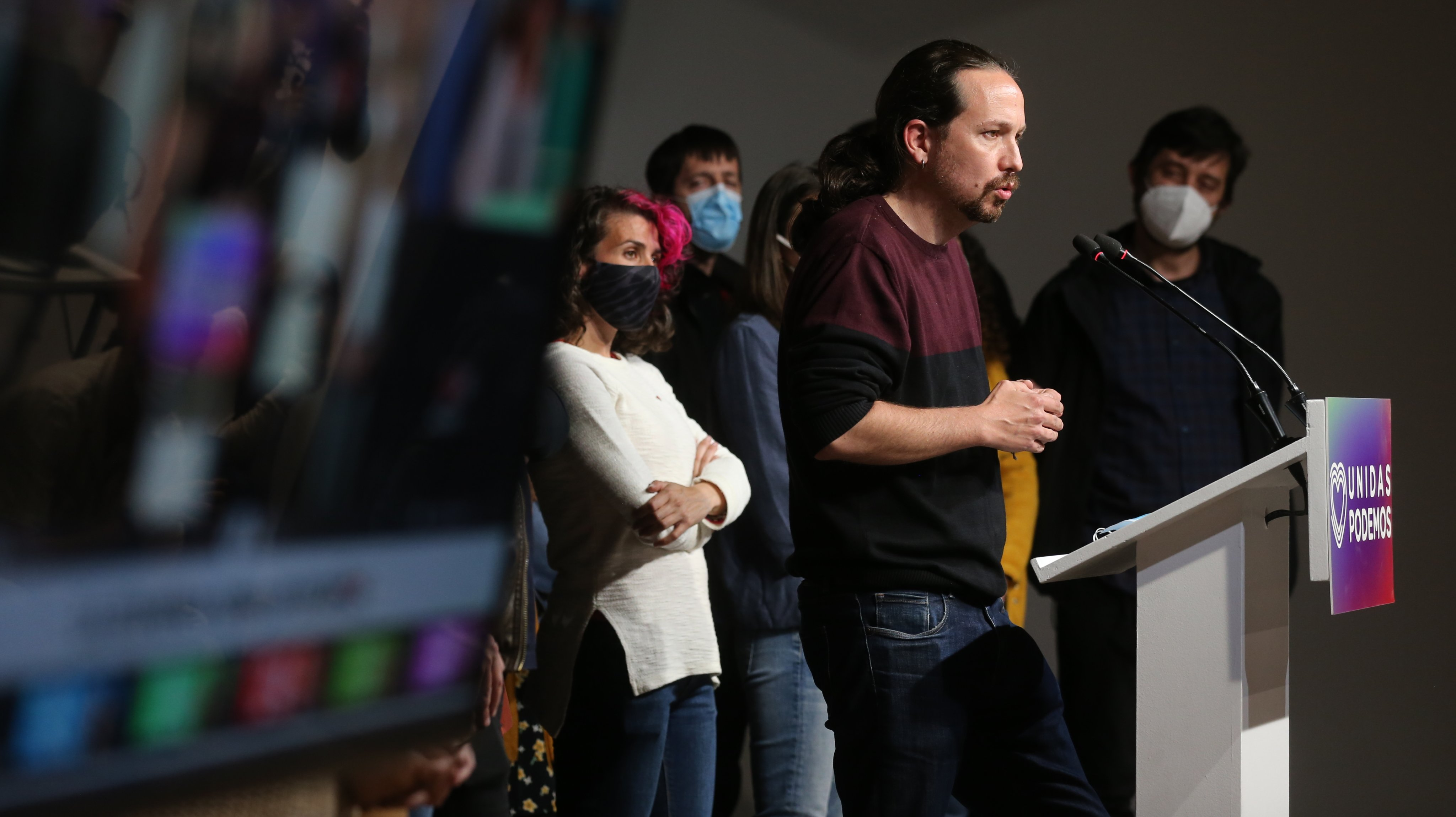 Unidas Podemos Follows The Results Of The Voting. Elections 4-m 2021 Madrid