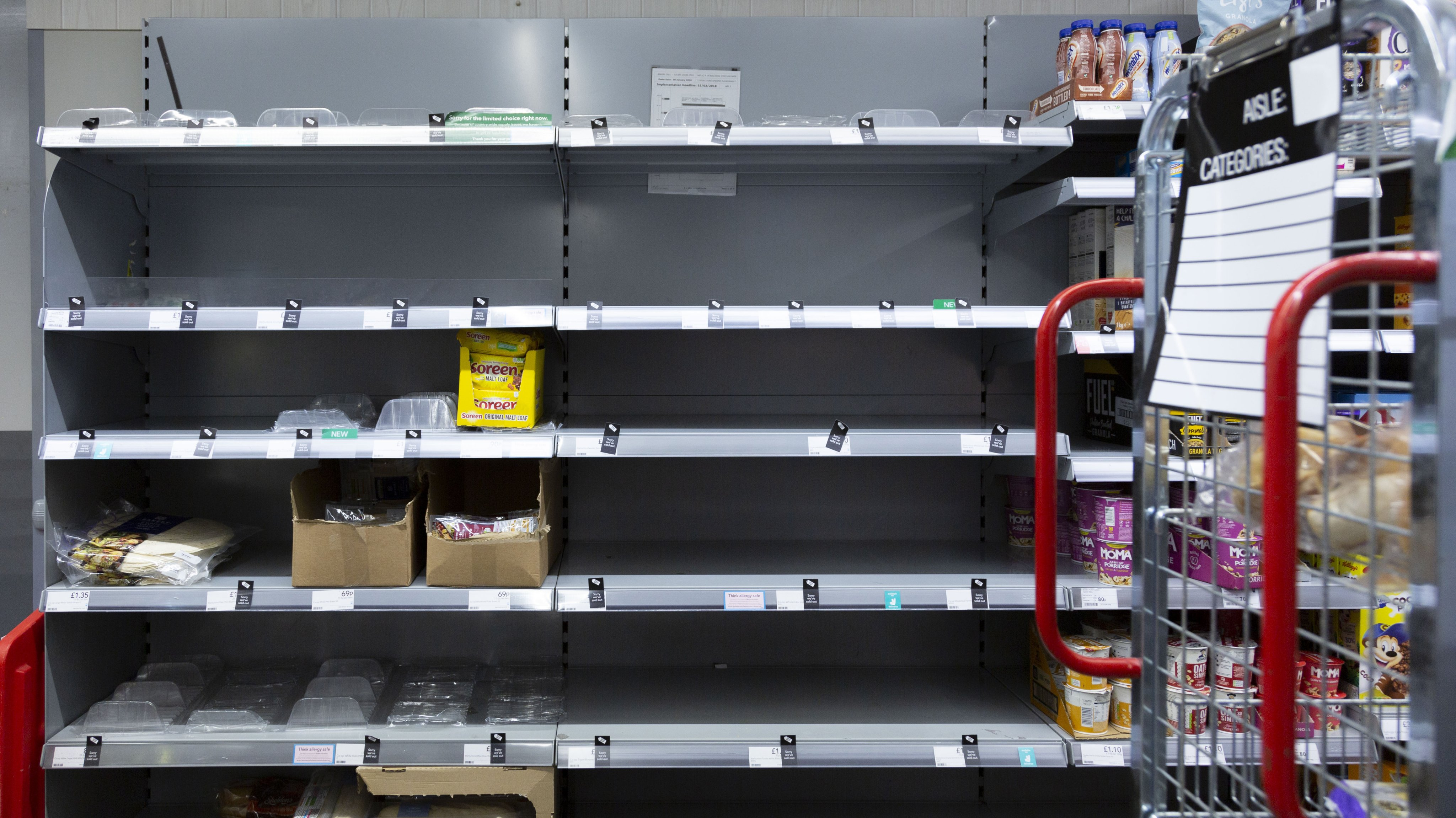 Shoppers face empty shelves in London markets due logistic crisis in UK