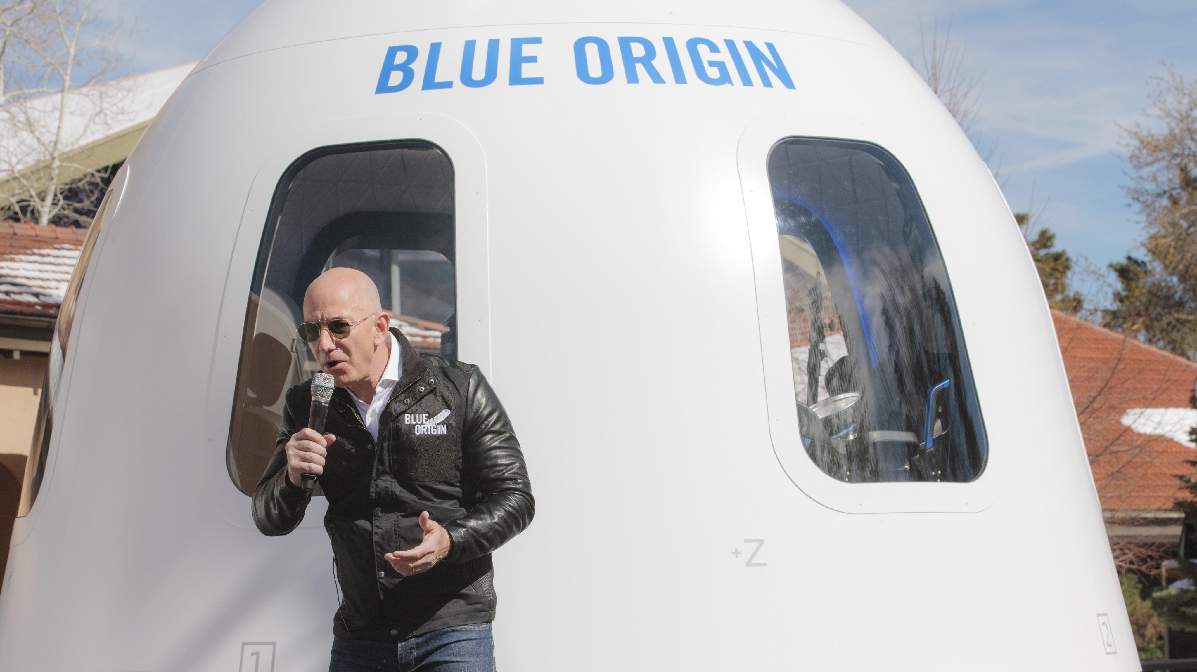 Amazon Chief Executive Officer Jeff Bezos Introduces The Blue OriginNew ShepardSystem