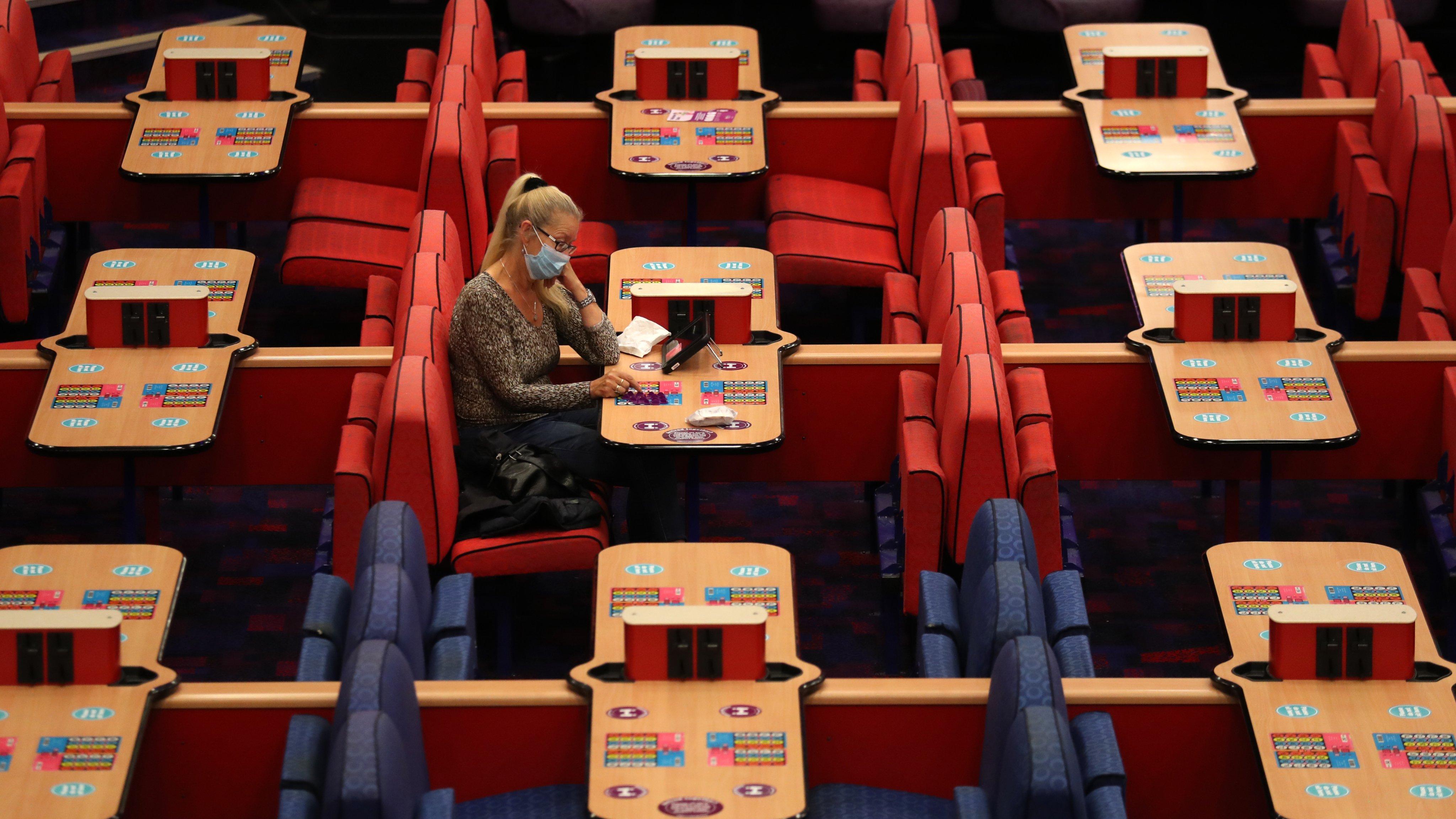 Sala de bingo, durante a pandemia Covid-19, 24 de agosto de 2020