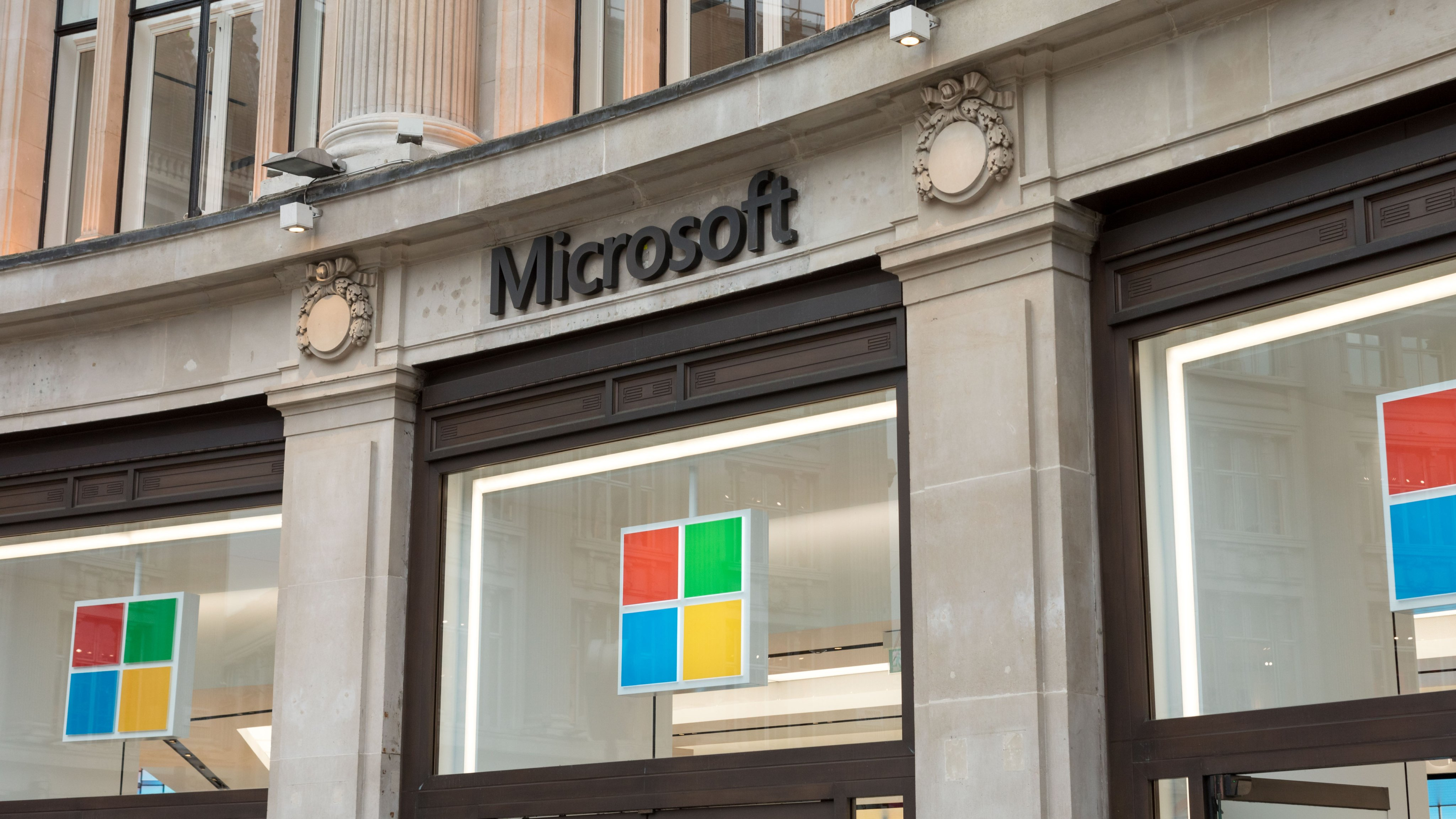 Microsoft logo is seen at one of their stores on Oxford