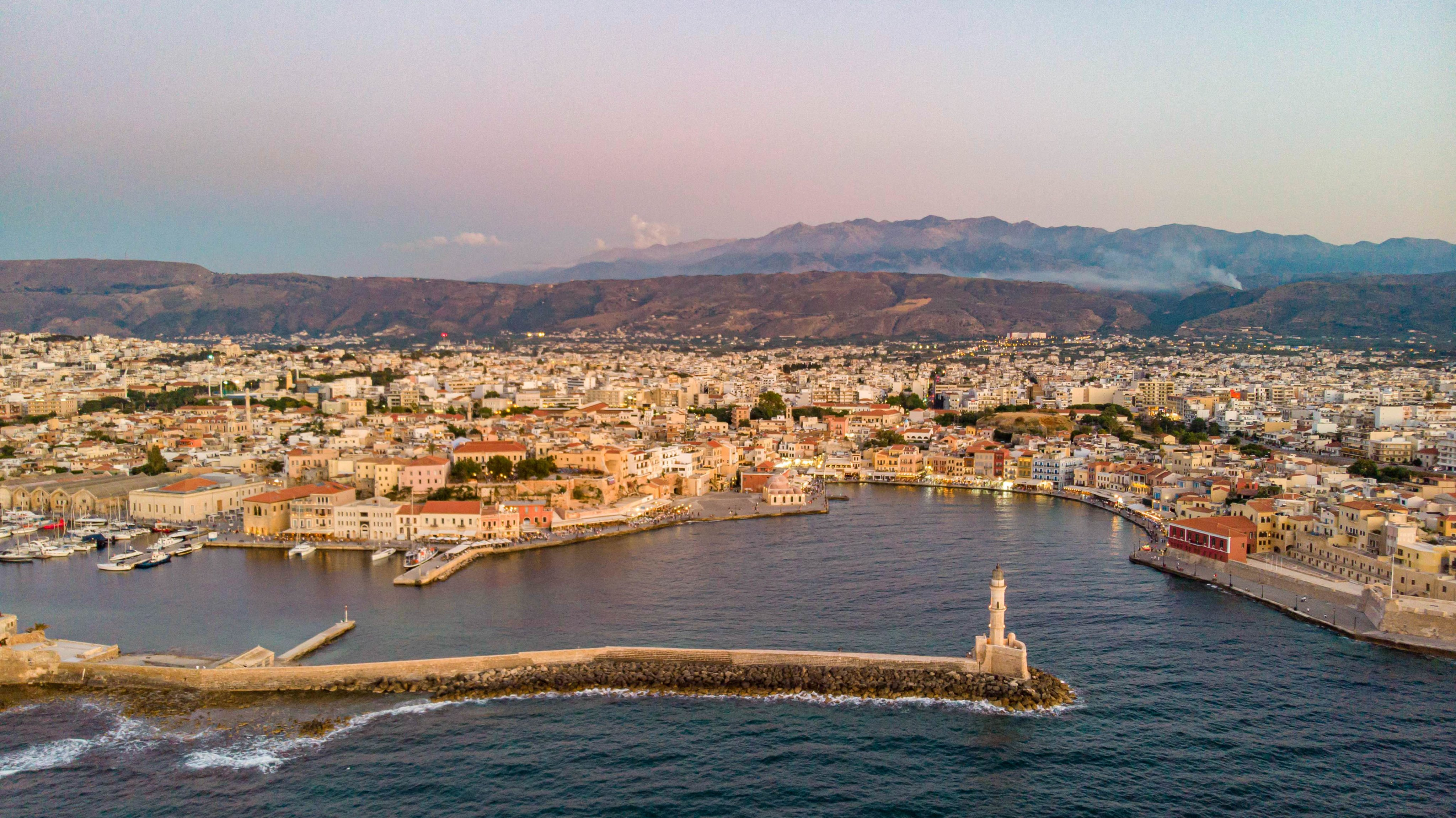 Aerial View Of Chania Town In Crete Island