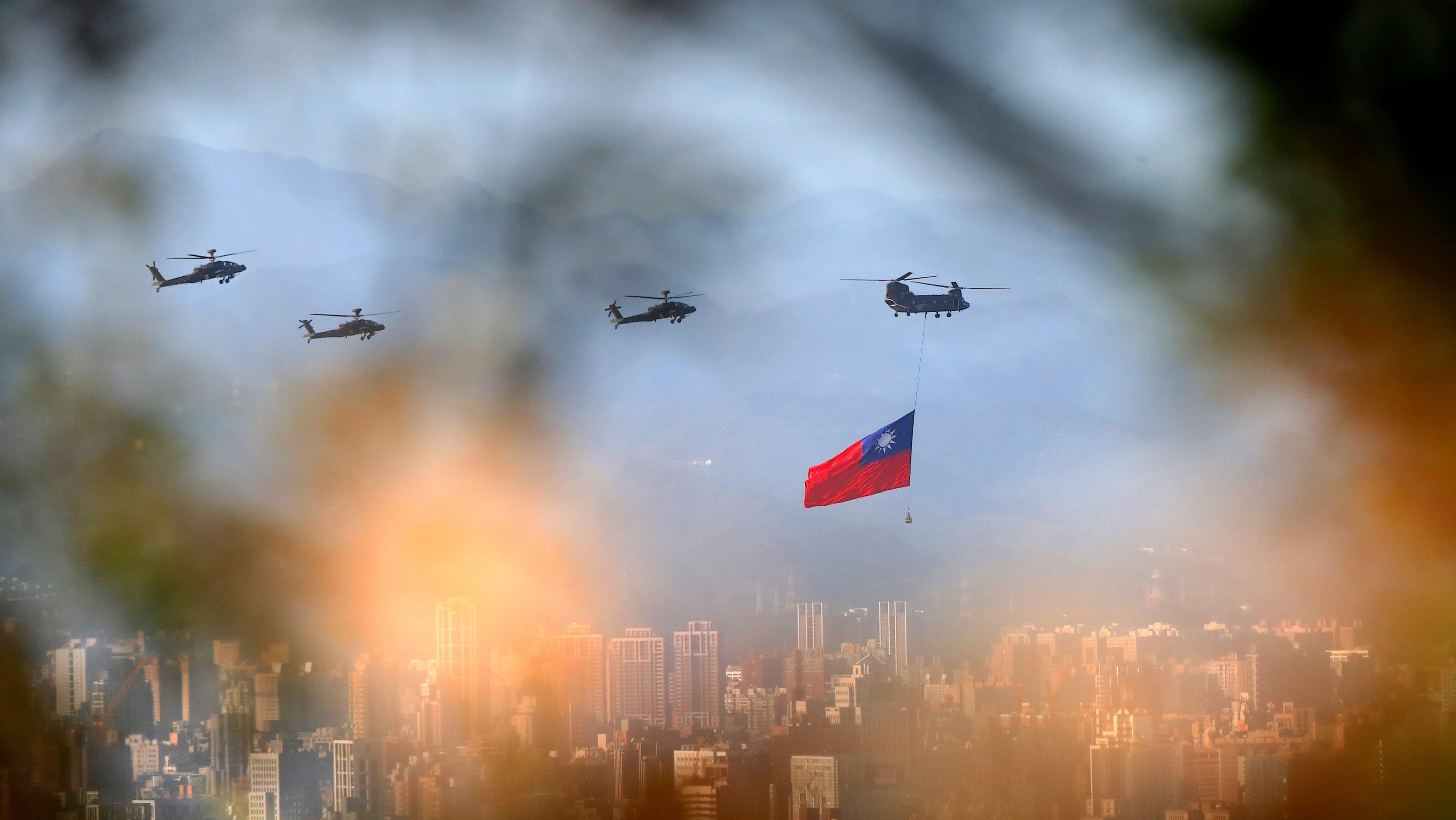 Taiwan: Military Huge Flag Flyover Amid China's Rising Threats