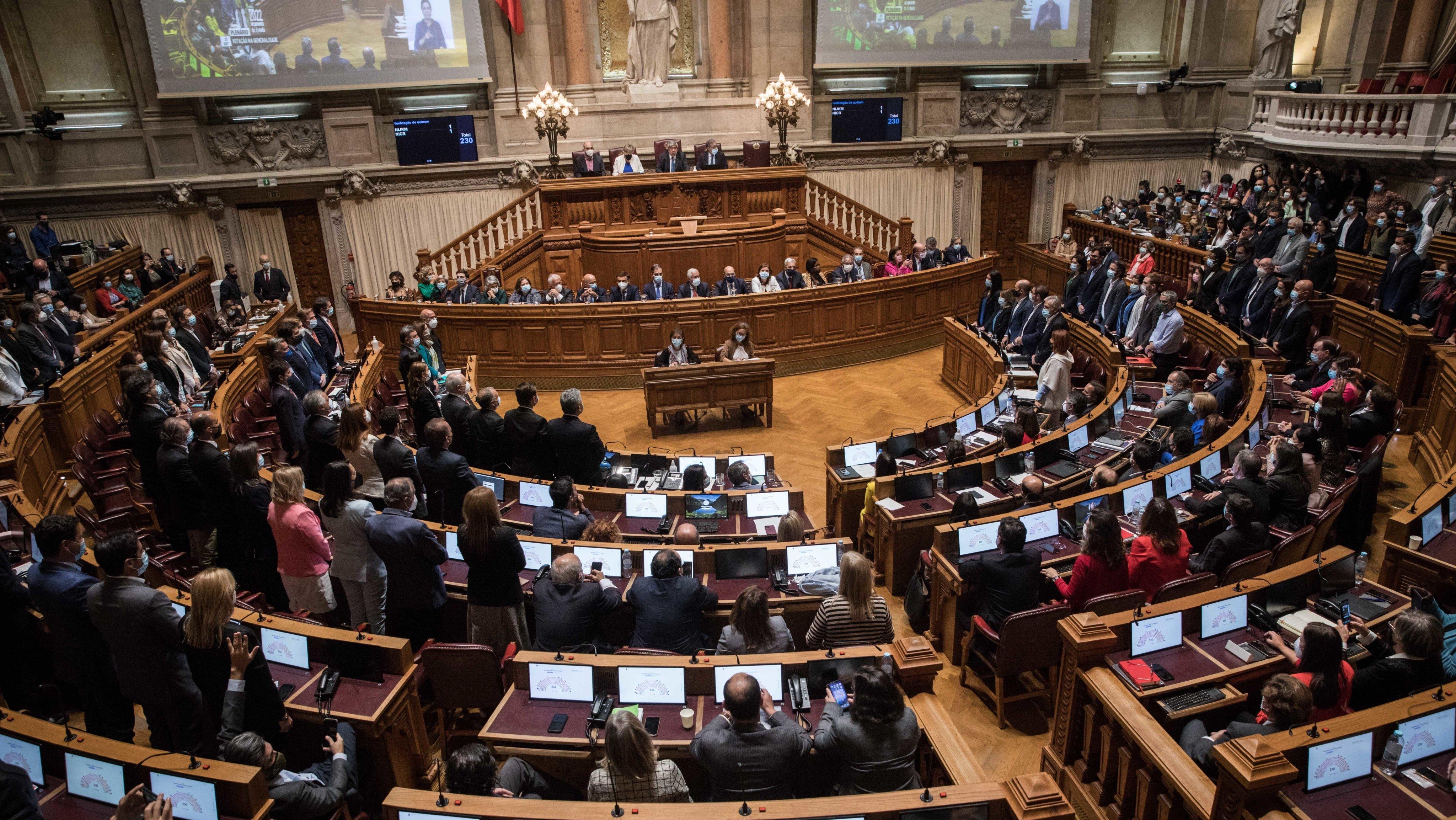 Parlamento: Debate e votação na generalidade ao Orçamento do Estado para 2022, na Assembleia da República. Bloco de Esquerda e PCP votarão contra o orçamento o que provocará a queda do Governo de António Costa e eleições antecipadas. Momento em que a direita e a esquerda chumba o orçamento do Estado do Governo. Apenas PS votou a favor. Lisboa, 27 de outubro de 2021. JOÃO PORFÍRIO/OBSERVADOR