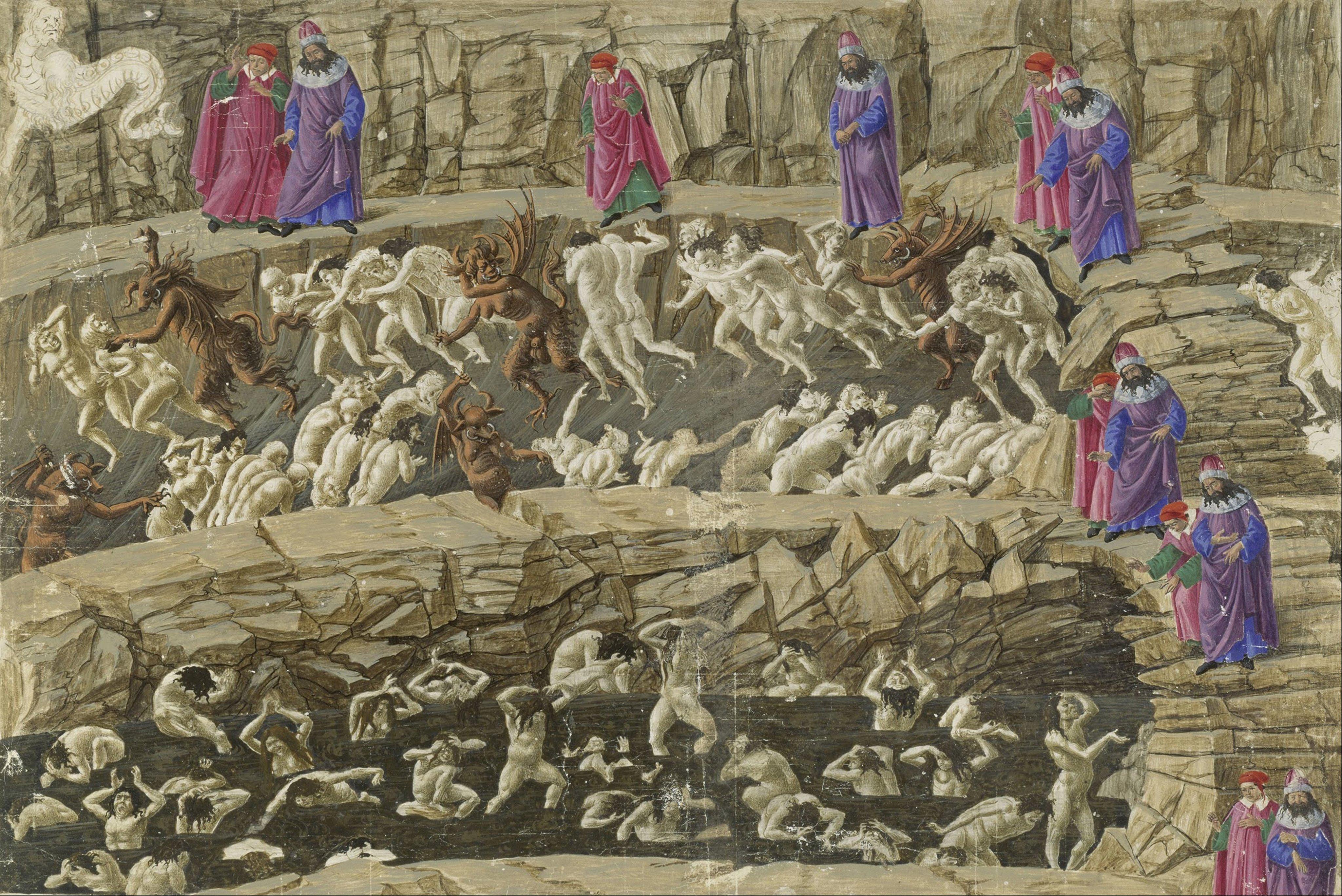 Illustration to the Divine Comedy by Dante Alighieri, 1480-1490. Artist: Botticelli, Sandro (1445-1510)