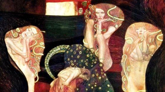 """As """"serpentes douradas"""" no cabelo da """"Jurisprudência"""", de Gustav Klimt, colorizadas pela Google"""