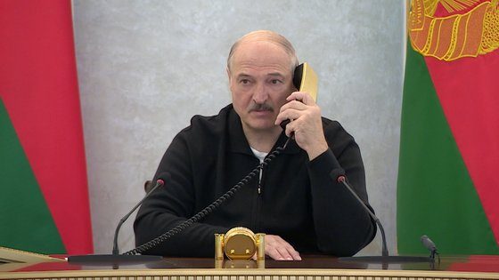 epa08622634 Belarusian President Alexander Lukashenko speaks on the phone at the Palace of Independence in Minsk, Belarus, 23 August 2020 (Issued 24 August 2020).  EPA/BELTA / POOL
