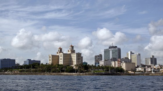 epa06848610 Under the modern city scape of Havana, Members of the Antonio Nunez Jimenez Foundation follow the route of the original expedition to the entrance to the port of Havana 30 years ago, in Havana, Cuba, 28 June 2018. Antonio Nunez Jimenez Foundation celebrates the 30 year anniversary of explorer Antonia Nunez Jimenez canoe trip from the Amazon to the Caribbean.  EPA/Ernesto Mastrascusa