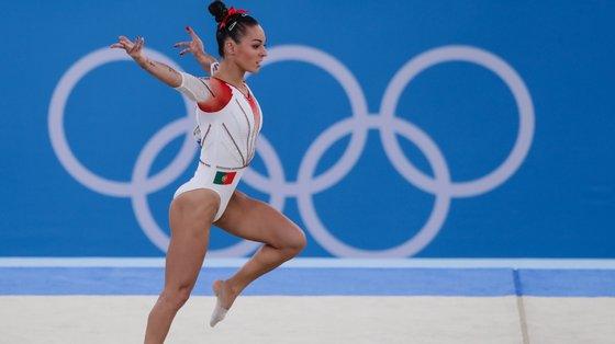 A portuguesa Filipa Martins durante a prova de solo na qualificação de Ginástica Artistica feminina dos Jogos Olímpicos Tóquio2020, no Centro de Ginástica de Ariake, Tóquio, 25 de julho de 2021. TIAGO PETINGA/LUSA