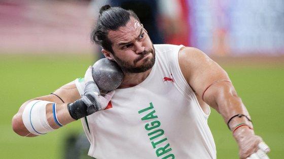 O português Francisco Belo durante a prova de qualificação para a final do lançamento do peso, Jogos Olímpicos Tóquio 2020, Estádio Olímpico, Tóquio, Japão, 3 de agosto de 2021. JOSÉ COELHO/LUSA
