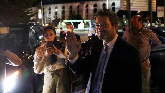 O presidente do Chega, André Ventura, durante uma ação de campanha em Elvas, 19 de setembro de 2021. No próximo dia 26 de setembro mais de 9,3 milhões eleitores podem votar nas eleições Autárquicas, para eleger os seus representantes locais. NUNO VEIGA/LUSA