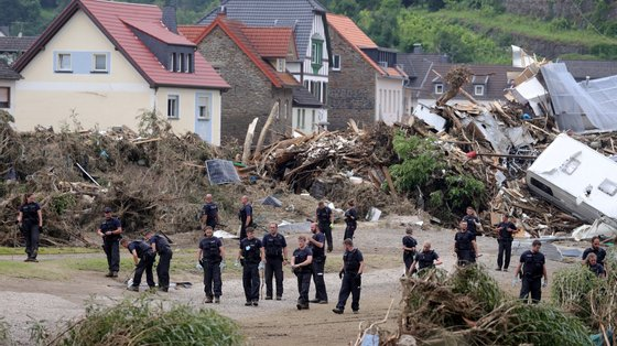 Na Alemanha, as inundações da semana passada afetaram principalmente os Estados da Renânia do Norte-Vestfália e Renânia-Palatinado
