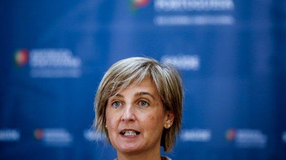 A ministra da Saúde, Marta Temido, durante a conferência de imprensa após a 22ª sessão sobre a evolução da covid-19 em Portugal no Infarmed, Lisboa, 27 de julho de 2021. NUNO FOX/LUSA