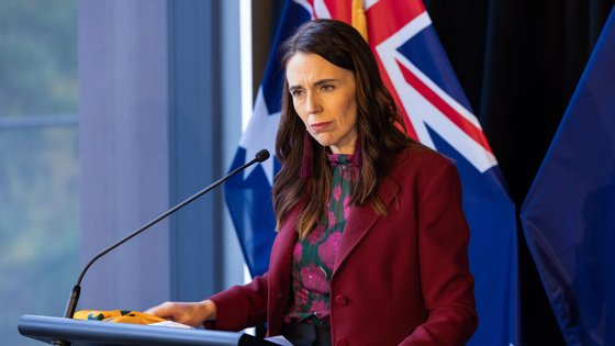 epa09238252 New Zealand Prime Minister Jacinda Ardern speaks during a press conference at The Nest in Queenstown, New Zealand, 31 May 2021. Australian Prime Minister Scott Morrison is on a two-day visit to New Zealand to attend the annual Australia-New Zealand Leaders' Meeting.  EPA/PETER MEECHAM AUSTRALIA AND NEW ZEALAND OUT