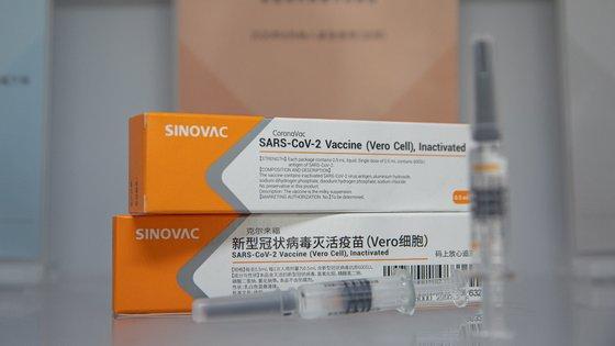 epa08628343 Sinovac's COVID-19 vaccine candidate CoronaVac is displayed at the company's headquarters in Beijing, China, 26 August 2020 (issued 27 August 2020). Chinese company Sinovac Biotech is developing the COVID-19 vaccine candidate called CoronaVac.  EPA/ROMAN PILIPEY
