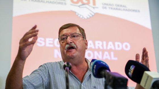 O secretário-geral da UGT, Carlos Silva, durante a conferência de imprensa para apresentar as principais linhas da Política Reivindicativa da UGT para 2020-2021, no final da reunião do secretariado nacional da União Geral de Trabalhadores, em Aveiro, 23 de setembro de 2020. PAULO NOVAIS/LUSA