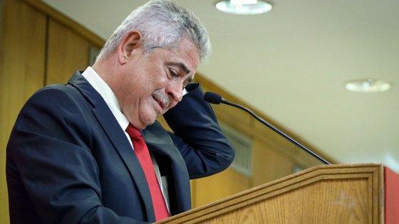 O presidente do Sport Lisboa e Benfica (SLB), Luís Filipe Vieira, durante a conferência de imprensa onde anunciou a sua recandidatura à presidência do clube, que deverá decorrer a 30 de outubro, em Lisboa, 30 de setembro de 2020. ANTÓNIO COTRIM/LUSA