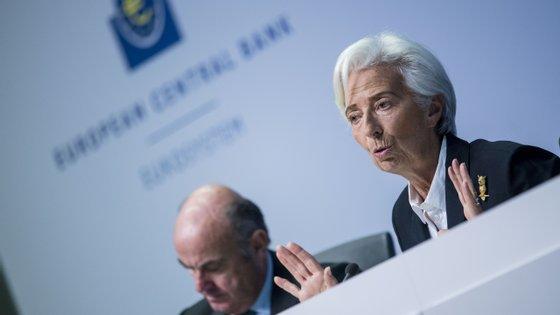 Luis de Guindos, vice-presidente, e Christine Lagarde, presidente do Banco Central Europeu