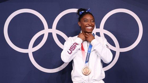 A atleta de 24 anos conquistou a medalha de bronze na final da trave, a única final individual em que participou