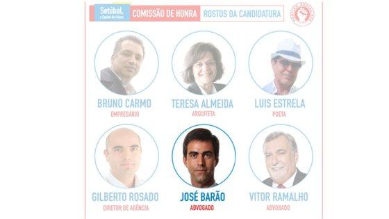 José Barão (na segunda fila, no meio) identifica-se como advogado na comissão de honra do candidato do PS