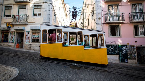 """The Bica funicular is seen on the way up to """"Largo do"""