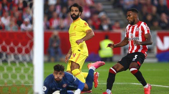 Salah marcou o segundo golo do Liverpool logo nos primeiros minutos da segunda parte