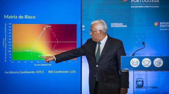 António Costa explica a evolução de Portugal na matriz de risco durante a conferência de imprensa após o Conselho de Ministros desta quinta-feira