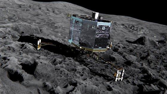 """Simulação da """"aterragem"""" do módulo Philae do satélite Rosetta no cometa Churyumov-Gerasimenko"""