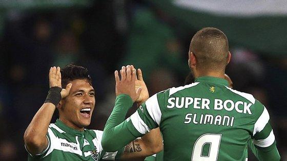 Já não jogavam juntos, de início, desde 9 de fevereiro. Aí nenhum marcou. Mas desta vez ambos o fizeram: Montero marcou um golaço e Slimani fez dois golos