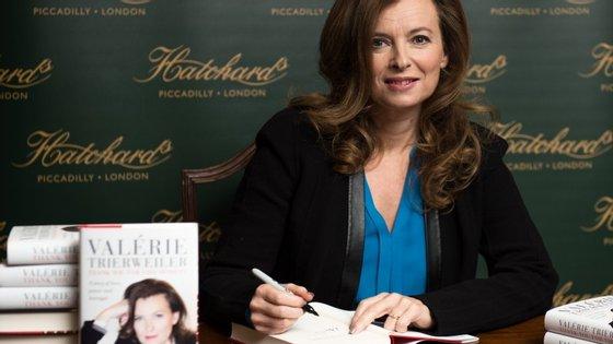 Valérie Trierweiler no lançamento do livro no Reino Unido em novembro de 2014