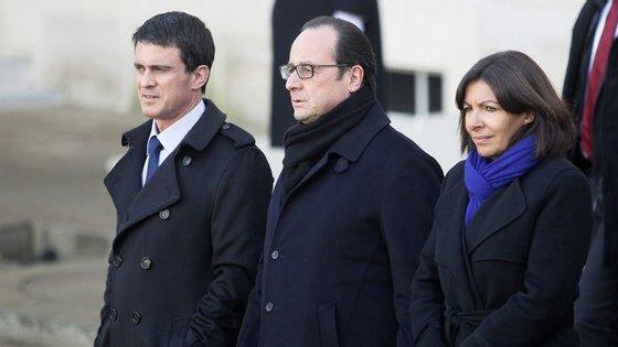 Anne Hidalgo com Manuel Valls e François Hollande