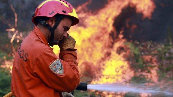 No local encontram-se 26 elementos dos Bombeiros Voluntários dos Carvalhos e dos Sapadores de Gaia