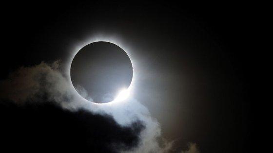 O eclipse solar total só se vê numa pequena faixa porque a Lua é muito mais pequena que o Sol