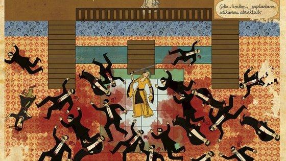 """Uma conhecida cena do filme """"Kill Bill"""" transformada em arte otomana."""