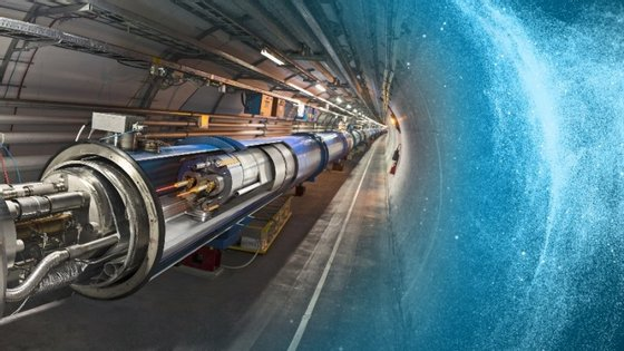 Ilustração tridimensional de uma porção do túnel do acelerador de partículas