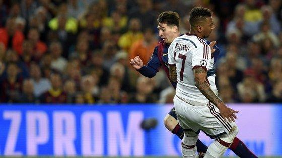 Messi teve pé em todos os golos que o Barcelona marcou ao Bayern: marcou o primeiro, o segundo, e fez a assistência para o terceiro golo. Pelo meio fez tombar Boateng
