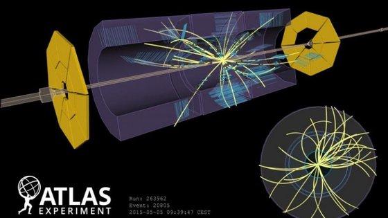 Colisão a 900 GeV de energia no detetor ATLAS do LHC