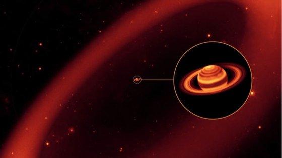 O anel fica a cerca de 6 milhões até 16.2 milhões de quilómetros do planeta