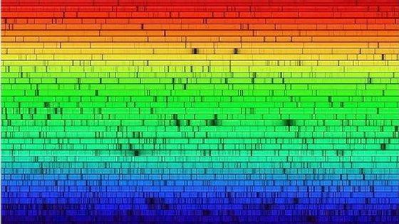 A luz solar é mais intensa entre o verde e amarelo. As cores negras são criadas pelos gases existentes na superfície do Sol que absorvem cor
