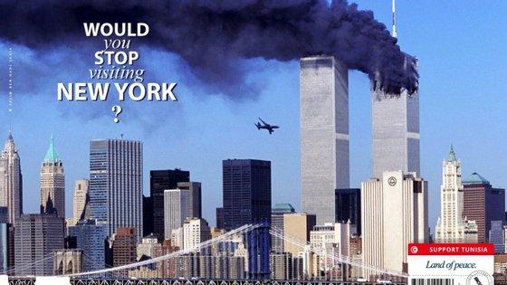 Uma agência de comunicação criou cartazes publicitários com imagens do 11 de setembro para evitar o boicote ao turismo na Tunísia.