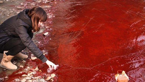 Recolha de uma amostra de água numa descarga ilegal na China em 2011