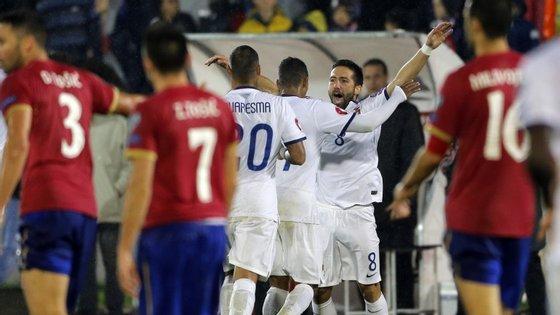 João Moutinho marcou tanto nos últimos dois jogos como nos 79 que tinha feito antes pela seleção nacional. Um golo à Dinamarca e agora um golaço à Sérvia