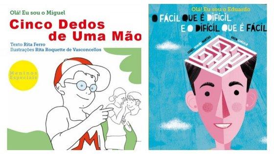 """Estes são dois dos três livros da 3ª coleção """"Meninos Especiais"""". Cada coleção conta a história de uma criança com uma síndrome."""