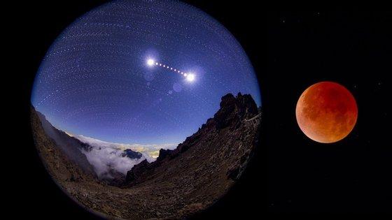 """O eclipse da superlua de 28 de setembro: a sequência completa do eclipse visto de La Palma, nas ilhas Canárias (à esquerda) e a """"Lua vermelha"""" do eclipse à direita (à direita)"""