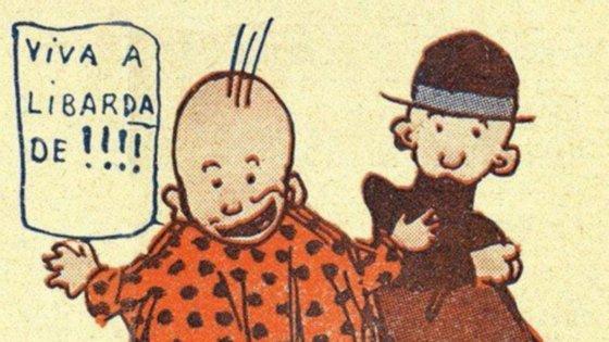 As personagens, Quim e Manecas, criadas por Stuart Carvalhais em 1915.