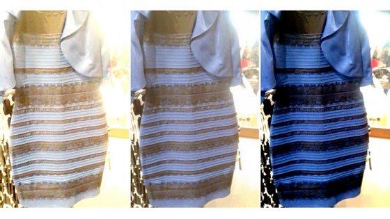 Ao centro, o vestido original; à esquerda e a direita as versões que se fizeram para acentuar o branco e dourado (à esquerda) e o preto e azul (à direita)