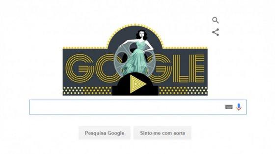 O doodle que celebra Hedy Lamarr, estrela cinema durante o dia e inventora durante a noite.