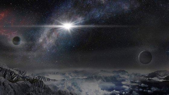 Ilustração da supernova superluminosa ASASSN-15lh vista de um exoplaneta na galáxia onde está localizada