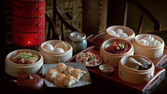Uma seleção de dim sum do restaurante Dinastia Tang, perto do Poço do Bispo.